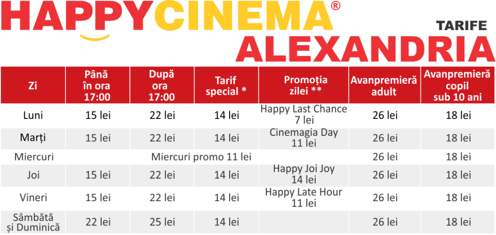 Preturi / tarife Happy Cinema Alexandria