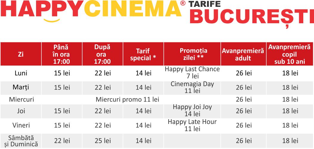 Preturi / tarife Happy Cinema Bucuresti