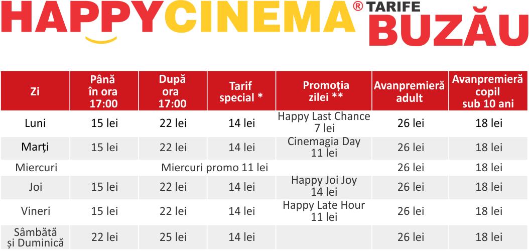 Preturi / tarife Happy Cinema Buzău