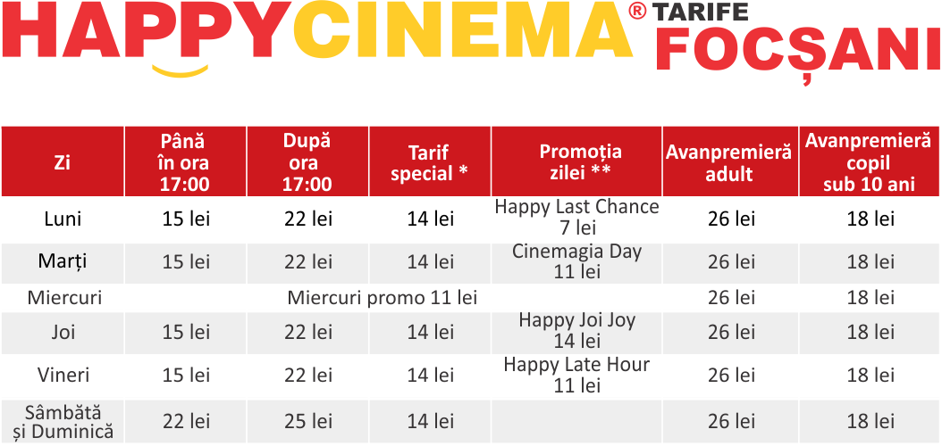 Preturi / tarife Happy Cinema Focșani